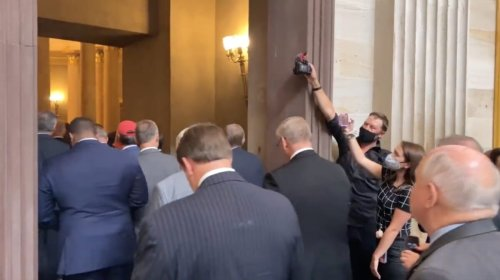 WATCH: Maskless House Republicans March on the Senate in Protest of Pelosi's Mask Mandate