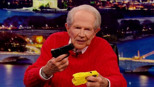 Pat Robertson Does Taser/Glock Demo On Air, Goes OFF on Cops: 'We Don't Have the Finest in the Police Department'