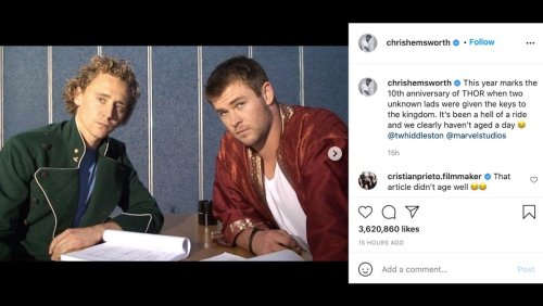 """Chris Hemsworth Reminds Us of """"When Two Unknown Lads Were Given the Keys to the Kingdom"""""""