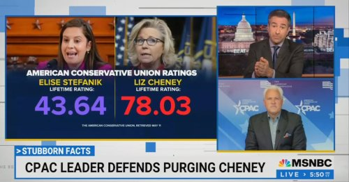 Ari Melber Confronts Matt Schlapp on GOP Ousting Cheney: Your Own Organization Ranks Stefanik as Far Less Conservative