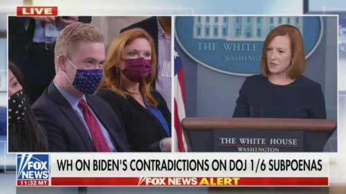 Psaki Rejects Fox's Doocy Comparing Biden's DOJ Influence to Trump's: Former President 'Used His Office to Incite an Insurrection'