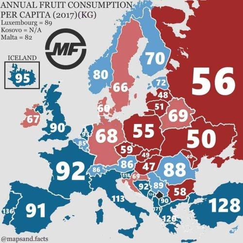 Map of Annual Fruit Consumption Per Capita In Europe