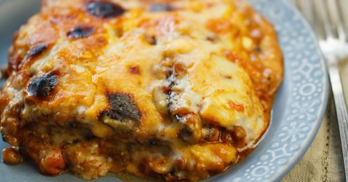 Greek-style lentil and eggplant bake