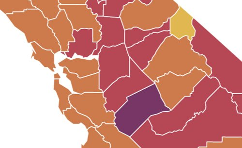 Map of California COVID tiers: Only one county still in purple