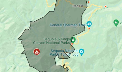 Map: KNP Fire Complex evacuation in Sequoia National Park