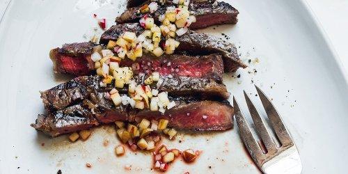 Grilled Rib Eye Steaks with Apple-Radish Vinaigrette
