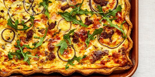 Sausage and Red Onion Sheet Pan Quiche