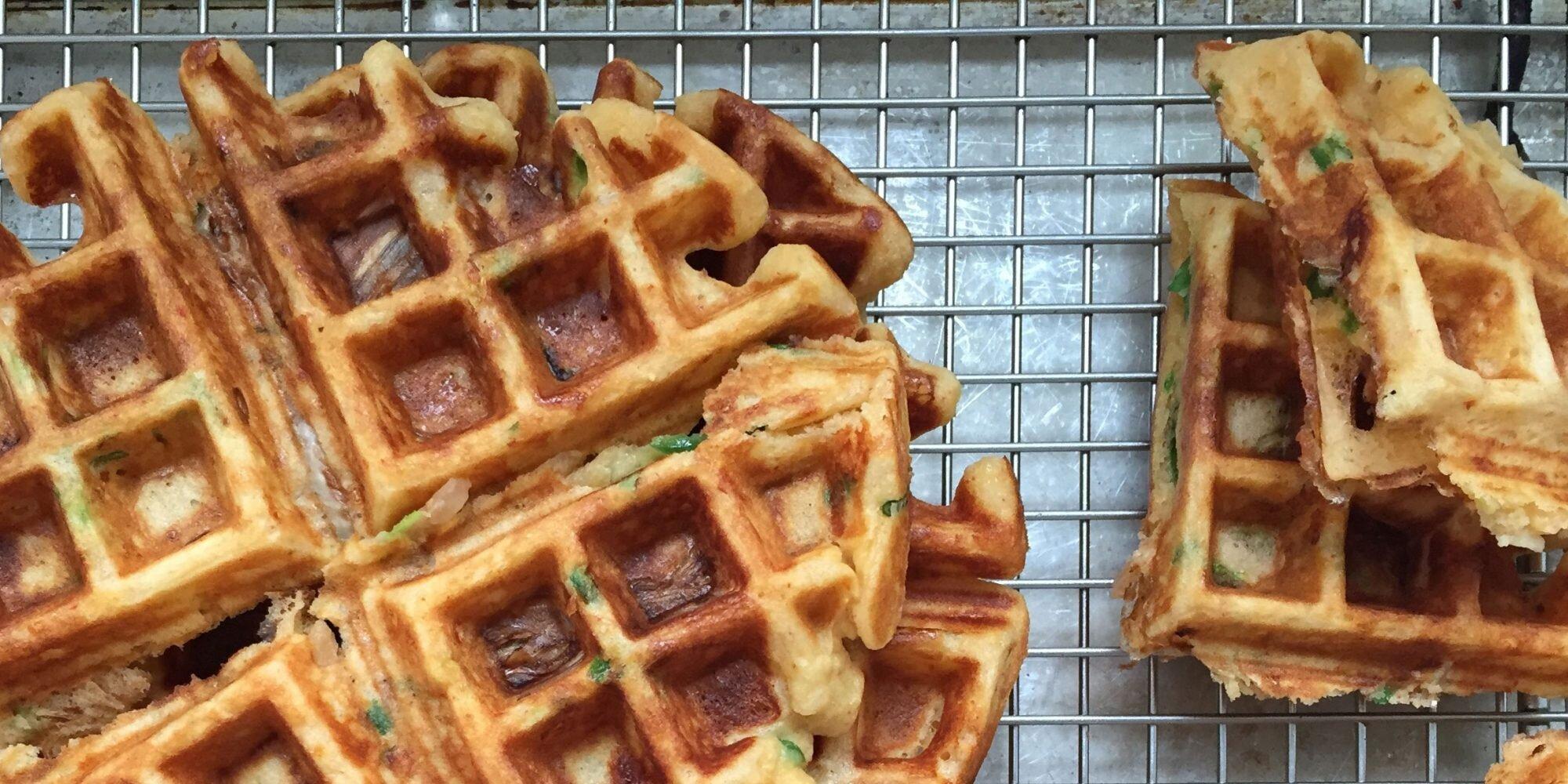 Kimchi-Cheddar Waffles