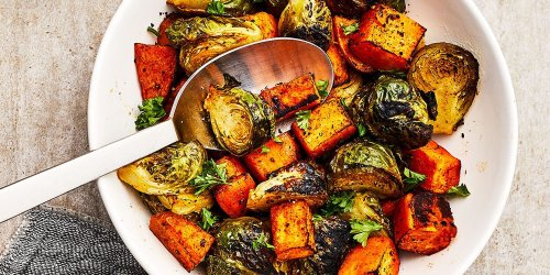 Roasted Brussels Sprouts & Sweet Potatoes
