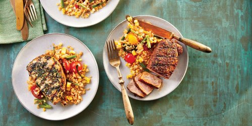 Grilled Spice-Rubbed Pork Chops with Scallion-Lime Rice Recipe