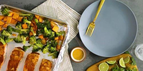 Sheet-Pan Salmon with Sweet Potatoes & Broccoli