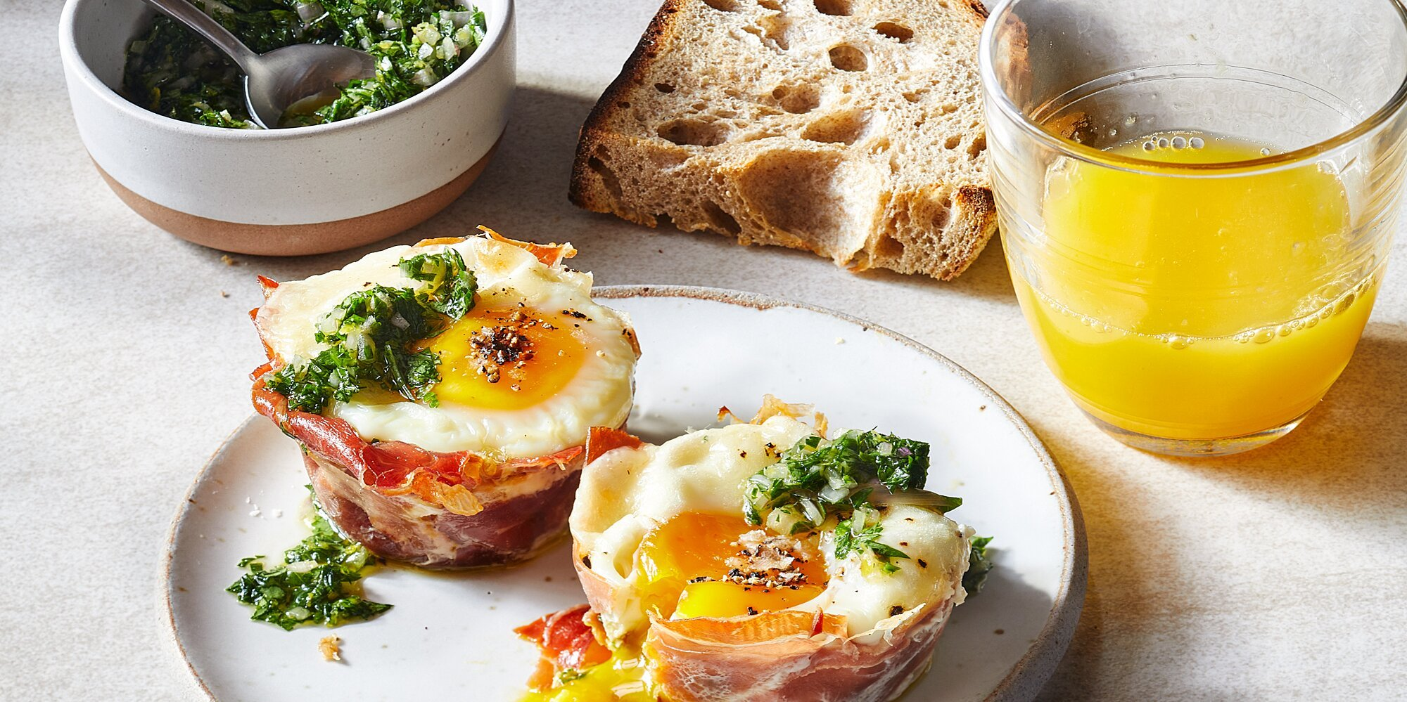 Breakfast Egg Cups with Parsley Gremolata and Mushrooms