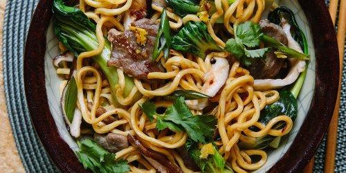 Longevity Noodles with Spicy Pork & Vegetables
