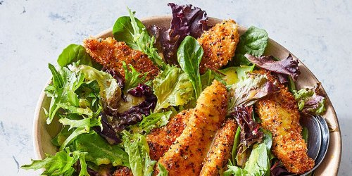 Homemade Chicken Tenders with Everything Bagel Seasoning over Salad