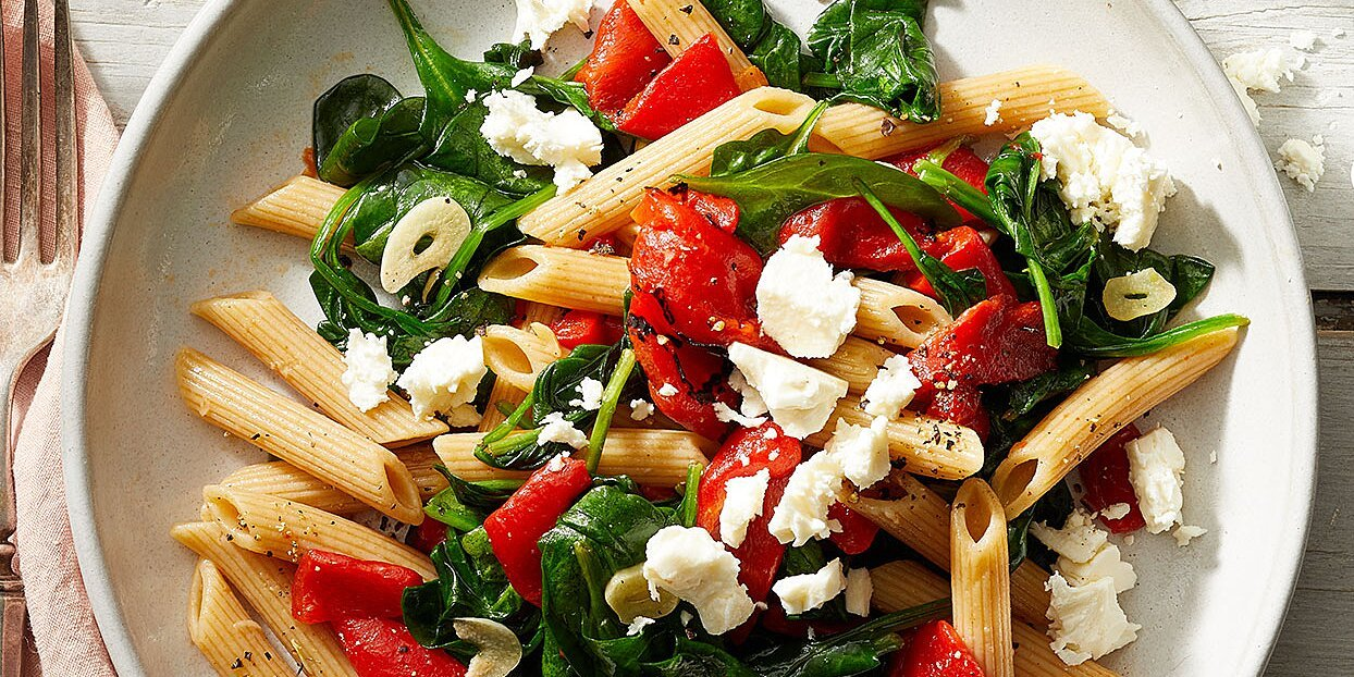 Roasted Red Pepper, Spinach & Feta Penne Pasta