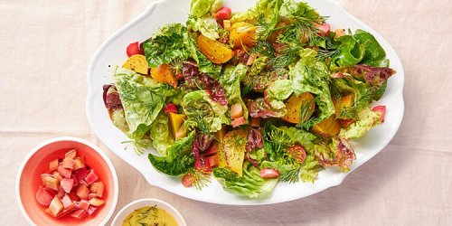 Green Salad with Roasted Beets and Pickled Rhubarb