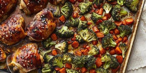 Honey-Garlic Chicken Thighs with Carrots & Broccoli