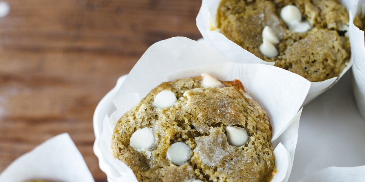 Matcha Muffins with White Chocolate Chips