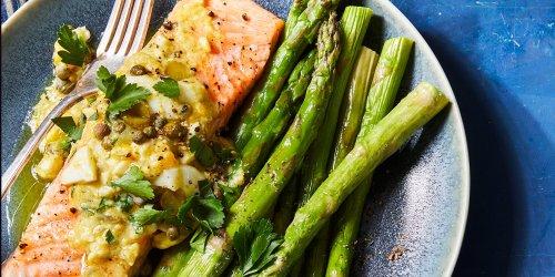 Roasted Salmon & Asparagus with Sauce Gribiche