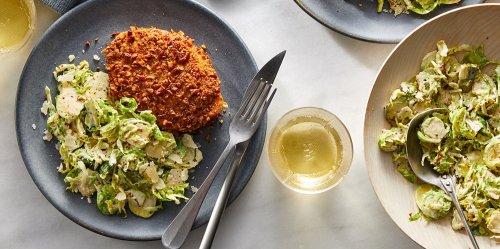 Pretzel Schnitzel with Mustardy Brussels Sprouts Slaw Recipe