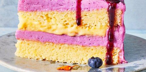 Lemon Chiffon Cake with Blueberry-Coriander Buttercream