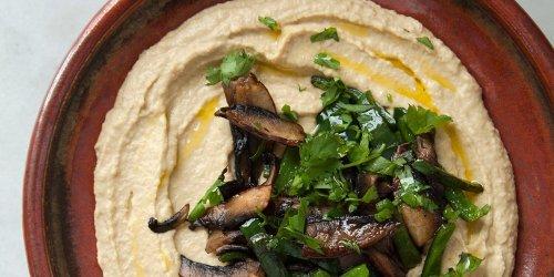 Creamy Hummus with Sautéed Mushrooms and Poblanos Recipe