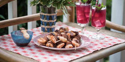 Lowcountry Shrimp-and-Sausage Muscadine Skewers
