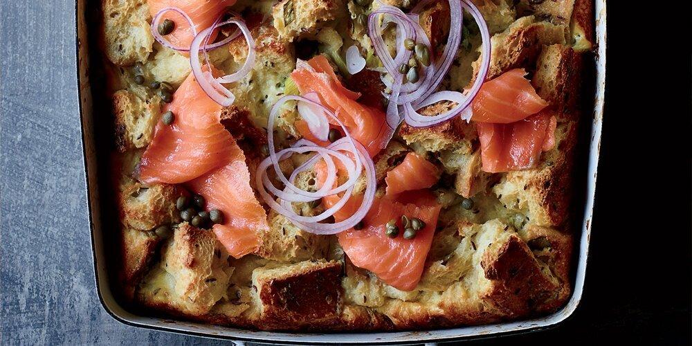 Rye and Crème Fraîche Strata with Smoked Salmon