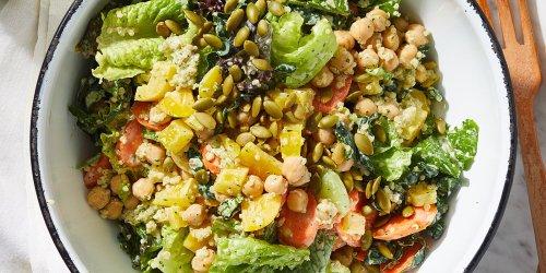 Vegetarian Chopped Power Salad with Creamy Cilantro Dressing