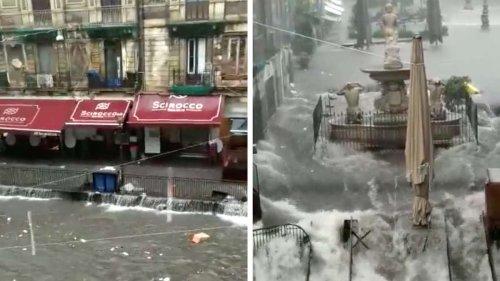 Unwetter-Katastrophe erschüttert Italien: Video zeigt enorme Sturzfluten – Wasser schießt regelrecht in Stadt