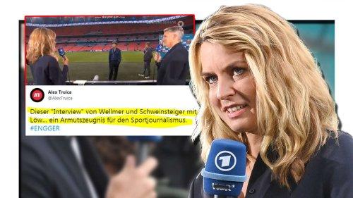"""""""Armutszeugnis für Sportjournalismus"""": Zuschauer zerreißen ARD-Moderatorin Jessy Wellmer bei Euro 2021"""