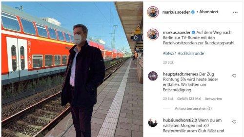 Vor der Elefanten-Runde in Berlin postet Söder ein Foto auf dem Bahnhof - Fans sehen Regelverstoß sofort