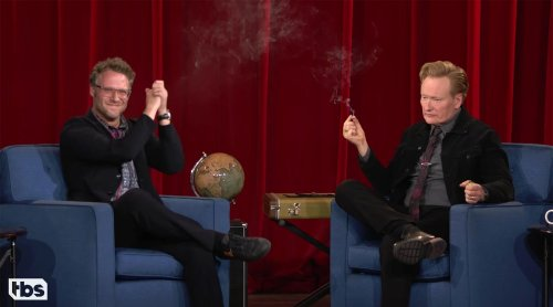 Seth Rogen Got Conan O'Brien and Andy Richter to Smoke Weed on Live TV
