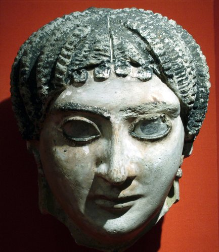 Mask of a woman with radiating waves of hair | Roman Period | The Metropolitan Museum of Art