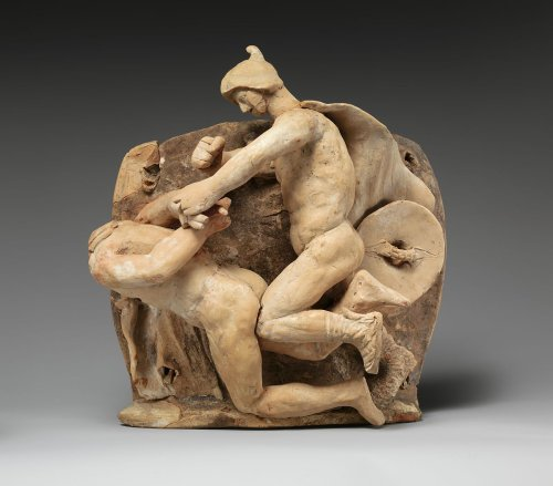 Terracotta relief probably from a funnel vase | Greek, South Italian, Apulian, Canosan | Early Hellenistic | The Metropolitan Museum of Art