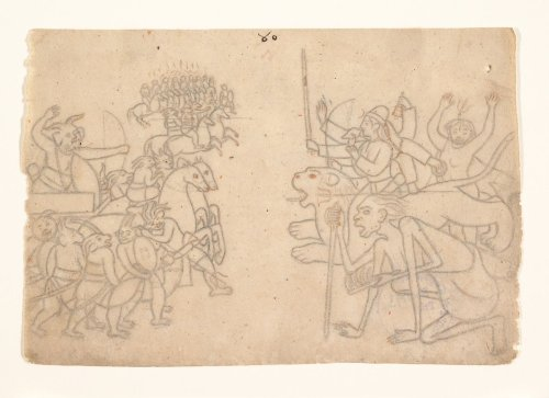 Durga and Kali Approach the Gathered Armies of Chanda and Munda: Scene from the Devi Mahatmya | India (Himachal Pradesh, Guler) | The Metropolitan Museum of Art