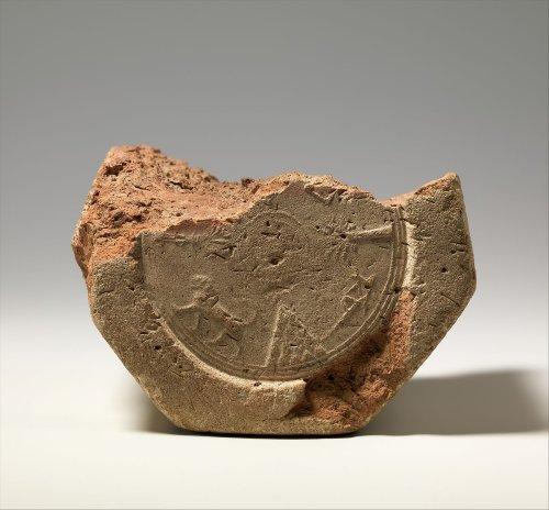 Cuneiform prism describing the restoration of Babylon by Esarhaddon, stamped with Assyrian hieroglyphic inscription ca. 676-672 B.C.