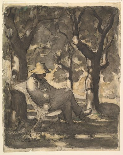 Honoré Daumier | A Man Reading in a Garden (recto); Preliminary sketch for a Man Reading in a Garden (verso) | The Metropolitan Museum of Art