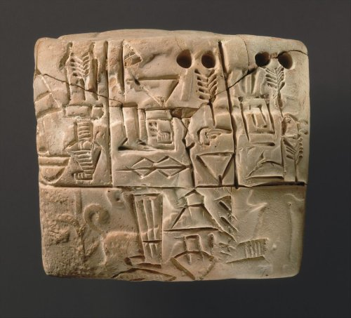 Proto-Cuneiform tablet with seal impressions: administrative account of barley distribution with cylinder seal impression of a male figure, hunting dogs, and boars | Sumerian | Jemdet Nasr | The Metropolitan Museum of Art
