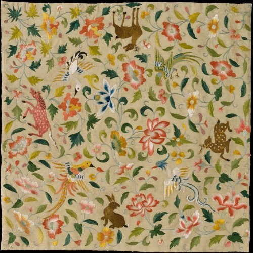 Textile with Animals, Birds, and Flowers   Eastern Central Asia   The Metropolitan Museum of Art