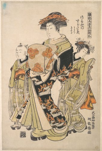 "Isoda Koryūsai | The Courtesan Sugatami of the Tsuruya Brothel, from the series ""A Pat-tern Book of the Year's First Designs, Fresh as Spring Herbs"" (""Hinagata wakana no hatsu moyō"") | Japan | Edo period (1615–1868) | The Metropolitan Museum of Art"