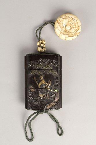 Tokoku | Case (Inrō) with Design of Ōni (Demon) Standing Behind Cloak of Arhat (obverse); Fly Whisk (Hossu) beneath Pine Tree (reverse) | Japan | Meiji period (1868–1912) | The Metropolitan Museum of Art