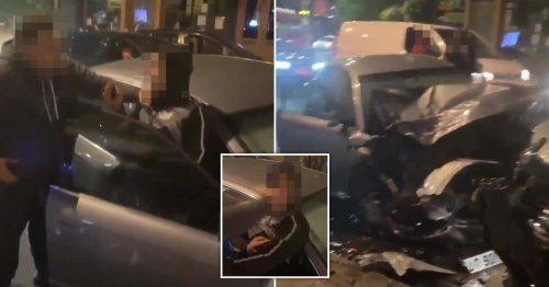 Driver slaps man's face and demands money after shocking crash