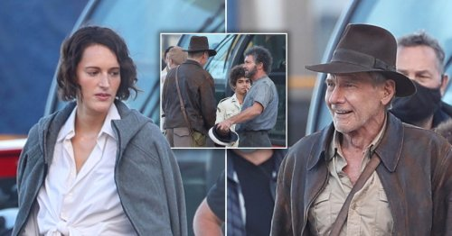 Phoebe Waller-Bridge and Harrison Ford hug it out with cast and crew while filming Indiana Jones 5