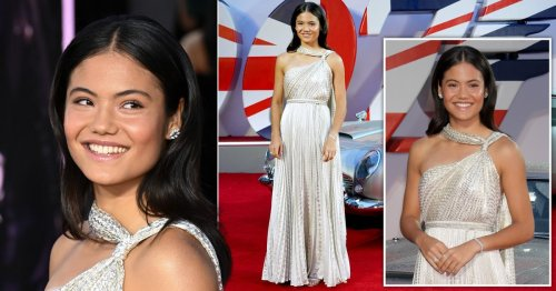 Emma Raducanu serves on the red carpet with the royal family at No Time To Die premiere