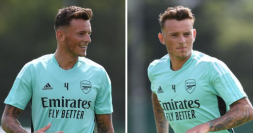 Ben White trains with his new Arsenal teammates for the first time