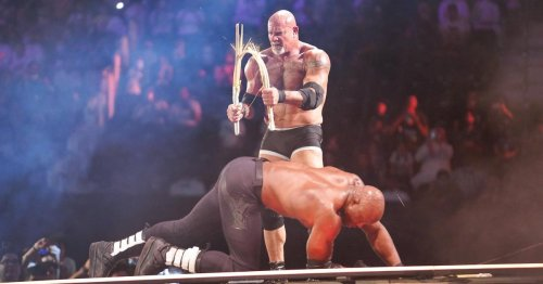 WWE Crown Jewel: Goldberg sends Bobby Lashley crashing off the stage through a table with huge spear