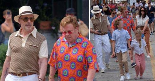Elton John and husband David Furnish are stylish in Gucci as they enjoy Portofino trip with children