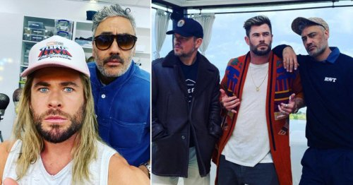 Chris Hemsworth poses with Taika Waititi as he jokes they 'squeezed the budget' for Thor: Love and Thunder
