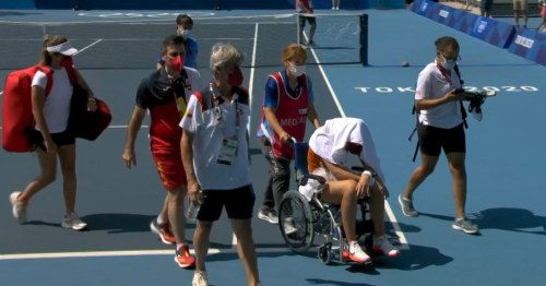 Tennis player Paula Badosa leaves court in wheelchair amid extreme Tokyo 2020 heat